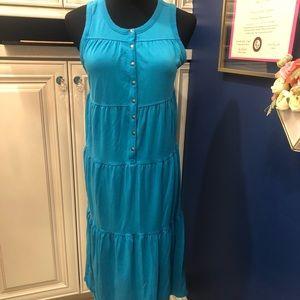 Athleta tiered ocean blue cotton blend dress small